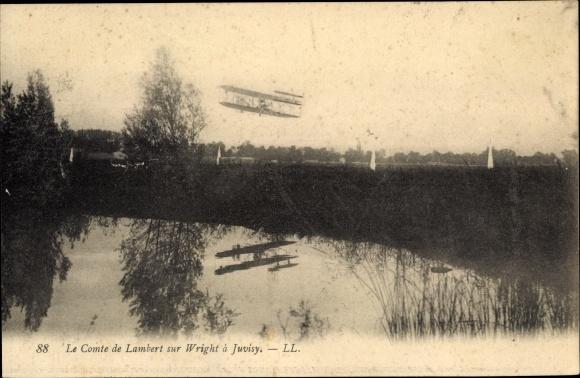 Ak Juvisy Essonne, Le Comte de Lambert sur Wright, Flugzeug
