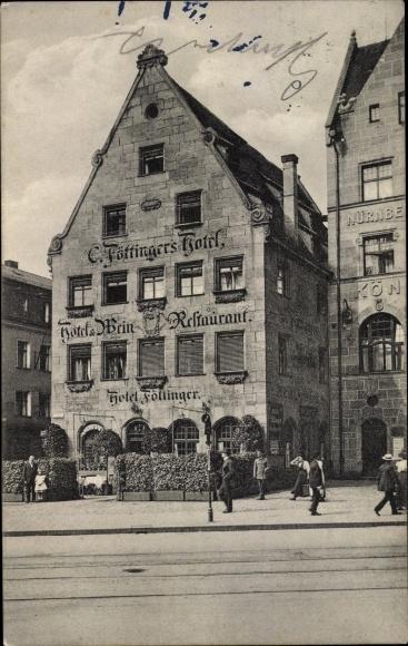 Ak Nürnberg, Weingroßhandlung J. B. Messerschmitt, Inh. F. Messerschmitt, B. Ultsch, Hotel Föttinger
