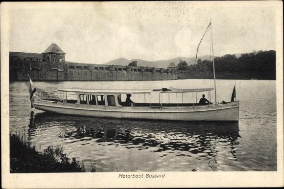 Ak Waldeck in Nordhessen, Motorboot Bussard, Waldecker Talsperre