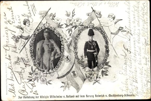 Ak Königin Wilhelmina der Niederlande, Heinrich zu Mecklenburg, Verlobung