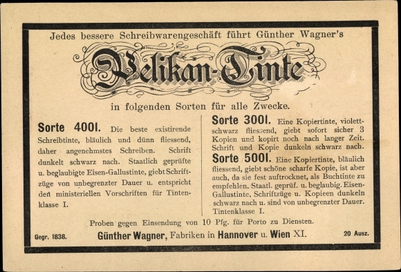 Ganzsachen Ak PP 8 B 8 03, Pelikan Tinte, Sorte 4001, 3001, 5001, Günther Wagner Hannover