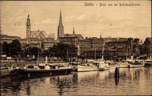 Ak Szczecin Stettin Pommern, Blick von der Bahnhofsbrücke