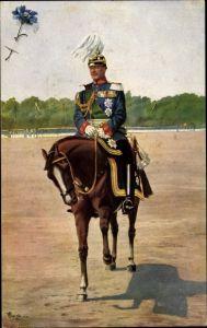 Künstler Ak Starcke, König Friedrich August III. von Sachsen, Pferd, Kornblumentag