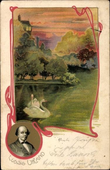 Jugendstil Litho Ludwig Uhland, Dichter, Schwäne
