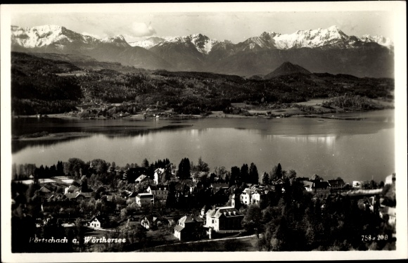 Ak Pörtschach am Wörther See in Kärnten, Teilansicht vom Ort, See, Bergpanorama