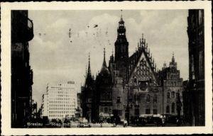 Ak Wrocław Breslau Schlesien, Ring mit Rathaus u. Hochhaus