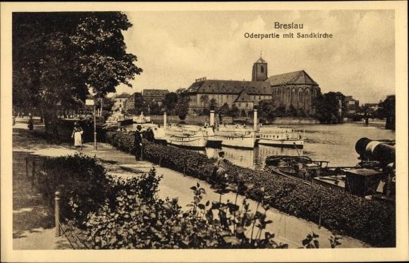 Ak Wrocław Breslau Schlesien, Oderpartie mit Sandkirche, Promenade, Dampfer