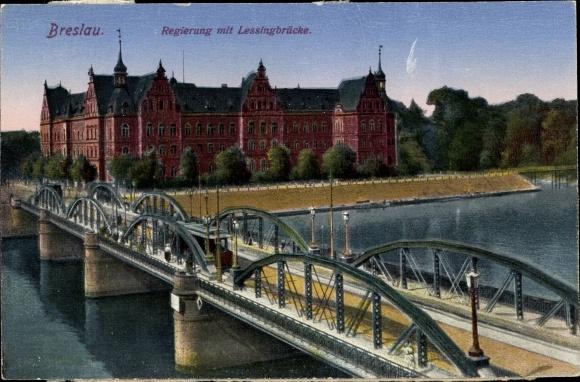 Ak Wrocław Breslau Schlesien, Regierung mit Lessingbrücke, Oderpartie