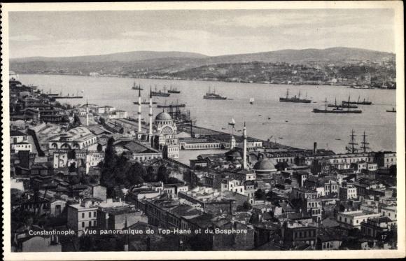 Ak Konstantinopel Istanbul Türkei, Vue panoramique de Top Hané et du Bosphore