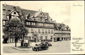 Ak Braunschweig in Niedersachsen, Bäckerklint, Till Eulenspiegel Brunnen, Mumme Haus, parkende Autos