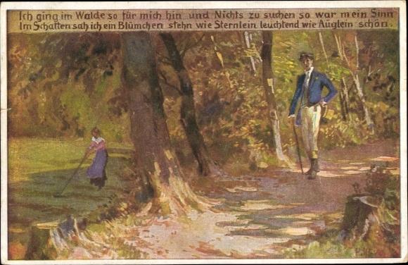 Künstler Ak Hey, Paul, Ich ging im Walde so für mich hin, Volksliederkarte Nr. 62