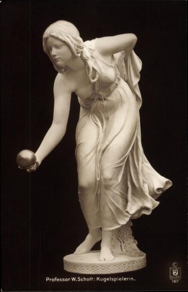 Ak Plastik von W. Schott, Kugelspielerin, weiblicher Akt
