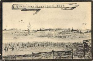 Künstler Ak Gruß aus Russland 1917, Landschaft, Zaun, I. WK