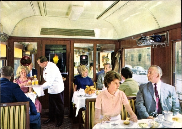 Ak Speisewagen, Deutsche Eisenbahn, Kellner, Innenansicht