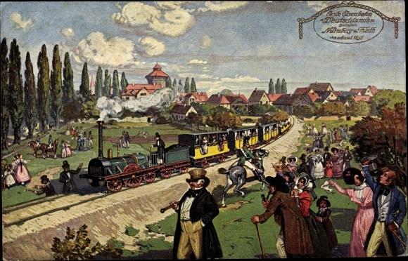 Künstler Ak Erste Eisenbahn Deutschlands, Nürnberg Fürth, Dampflok