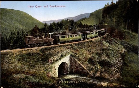 Ak Harz Quer und Brockenbahn, Eisenbahn, Dampflok