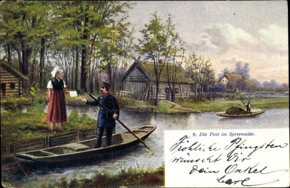 Ak Die Post im Spreewalde, Spreewaldkahn, Fluss, Briefträger