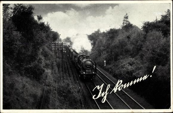Ak Ich komme, deutsche Eisenbahn, Dampflok, Bahnschienen
