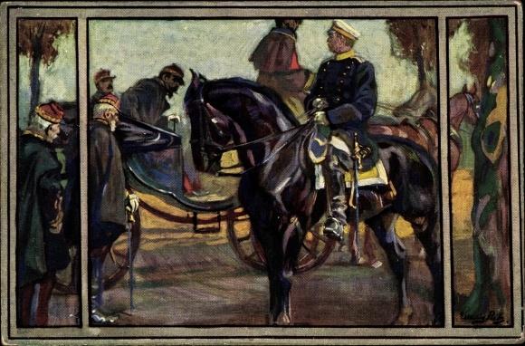 Künstler Ak Fürst Otto von Bismarck, Wohlfahrt, Begegnung mit Napoleon III., Straße nach Donchery