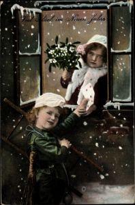 Ak Glückwunsch Neujahr, Schornsteinfeger, Brief, Mistelzweige, Mädchen
