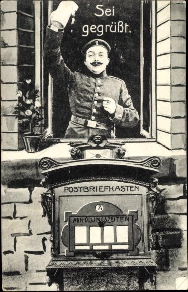 Ak Sei gegrüßt, Soldat, Bierkrug, Zigarre, Postbriefkasten