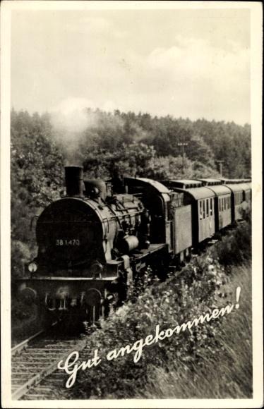 Ak Gut angekommen, deutsche Eisenbahn, Tender 38 1470