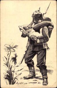 Künstler Ak Werner, A. v., Margeritentag Frankfurt Oder, Soldat, Baby