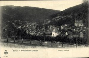 Ak Ruhla in Westthüringen, Unterer Ortsteil, Blick v. d. Knaudtstraße, Kirche, Hügel