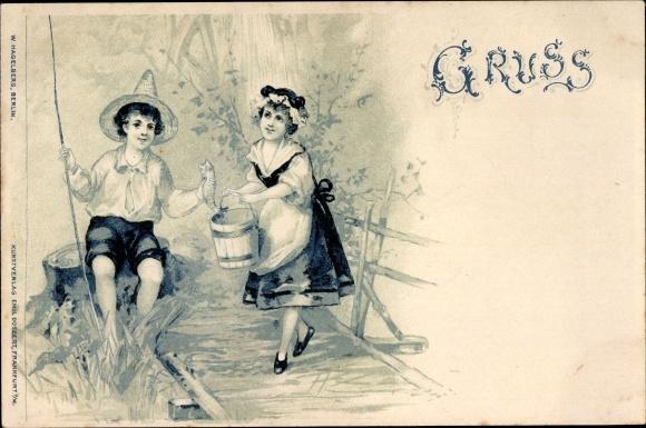 Litho Kinder beim Angeln, Fisch, Eimer