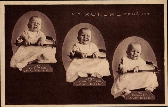 Ak Mit Kufeke ernährt, Kleinkind, Reklame