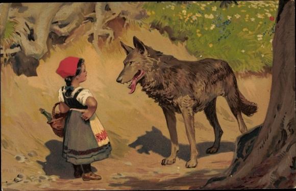 Künstler Litho Hey, Paul, Rottkäppchen, Böser Wolf, Meissner & Buch 1874