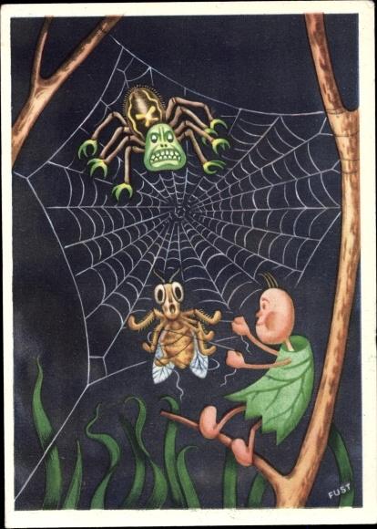 Künstler Ak Wichtel, Spinne, Fliegen im Spinnennetz