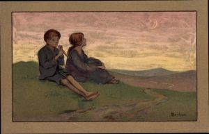 Künstler Litho Barham, S., Kinder, Flötenspieler, Munk 613