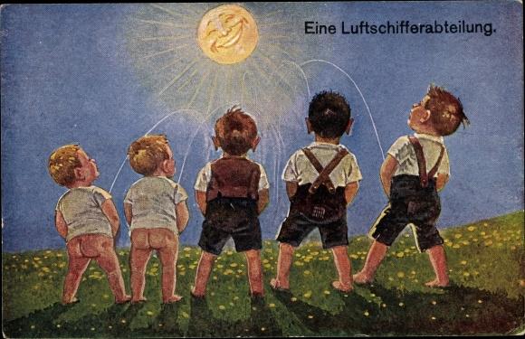 Künstler Ak Eine Luftschifferabteilung, Jungen pinkeln, Lachende Sonne