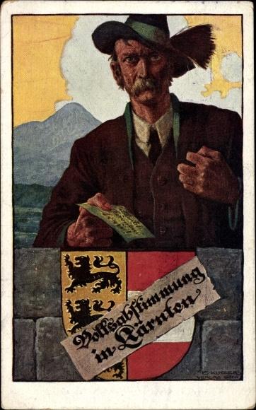 Künstler Ak Volksabstimmung in Kärnten 1920