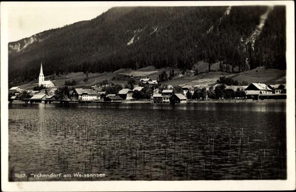 Ak Techendorf Weißensee in Kärnten, Teilansicht vom Ort, Kirche, Seeufer