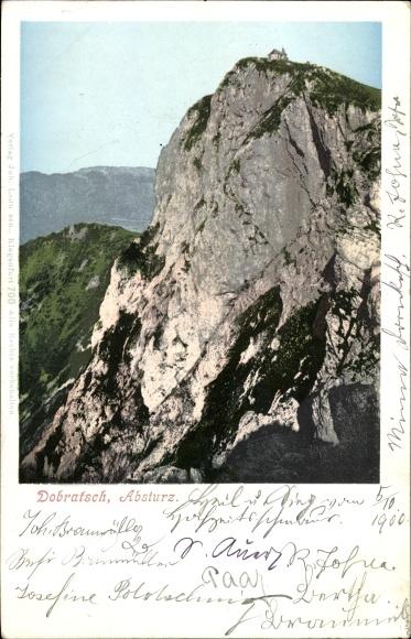 Ak Kärnten Österreich, Berg Dobratsch, Absturz, Steilwand