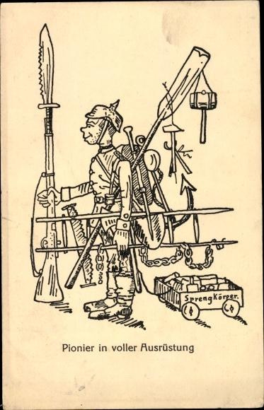 Künstler Ak Pionier in voller Ausrüstung, Bajonett, Sprengkörper