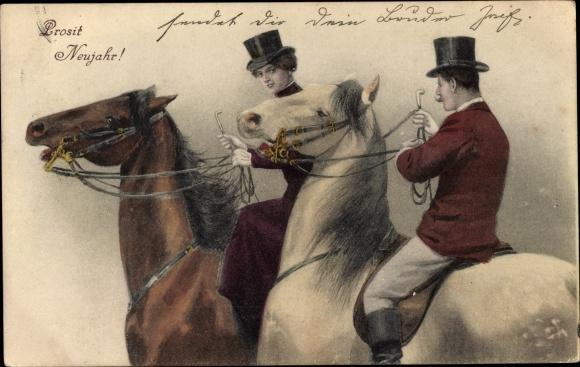 Ak Glückwunsch Neujahr, Mann, Frau, Reitkleidung, Pferde