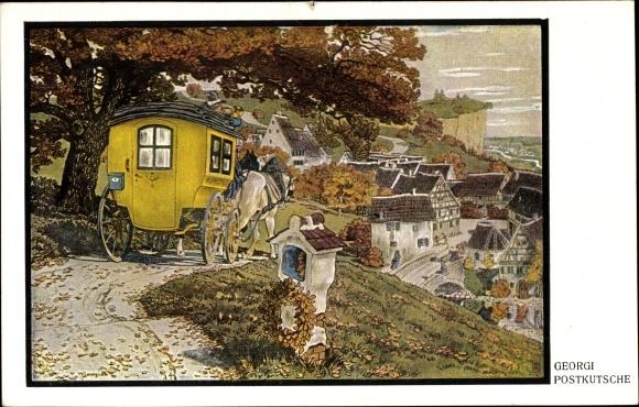 Künstler Ak Georgi, W., Postkutsche, Ortschaft