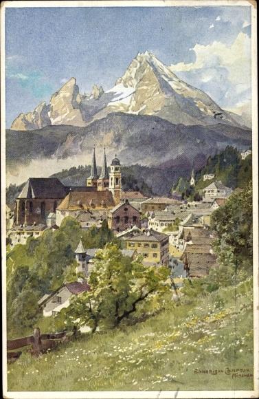 Künstler Ak Compton, Edward Harrison, Berchtesgaden in Oberbayern, Blick auf den Ort