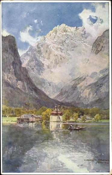 Künstler Ak Compton, Edward Harrison, Berchtesgaden, St. Bartholomä Schönau am Königssee