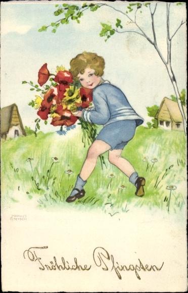 Künstler Ak Petersen, Hannes, Glückwunsch Pfingsten, Kind, Blumenstrauß, Mohnblüten