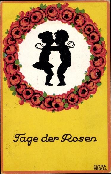 Scherenschnitt Ak Heckel Dora, Tage der Rosen, Engel, Blumenkranz