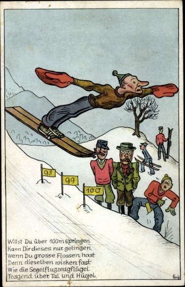 Künstler Ak Skispringer in der Luft, Willst Du über 100m springen