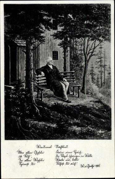 Gedicht Ak Wanderers Nachtlied, Schriftsteller Johann Wolfgang von Goethe