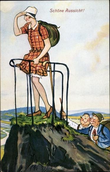 Künstler Ak Schöne Aussicht, Männer schauen Frau unter den Rock