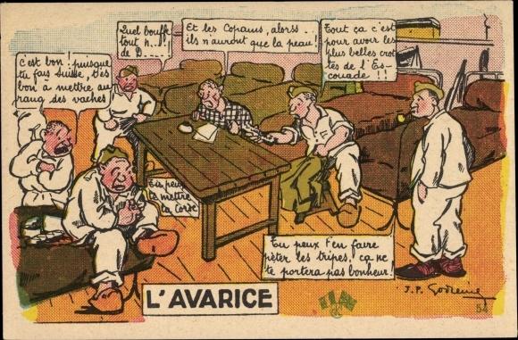 Künstler Ak L'Avarice, französische Soldaten, Betten
