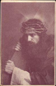 Ak Schauspieler Adolf Faßnacht als Christus, Dornenkranz, Treuz, Passionsspiel