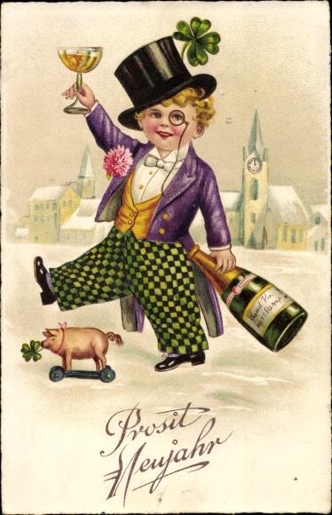Ak Glückwunsch Neujahr, Junge, Sektflasche, Schwein, Kleeblätter, Zylinder